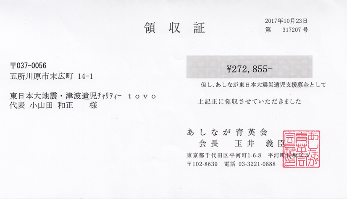 第47回 寄付ご報告 (2017.10.23)