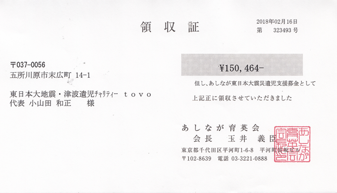 第49回 寄付ご報告 (2018.2.16)