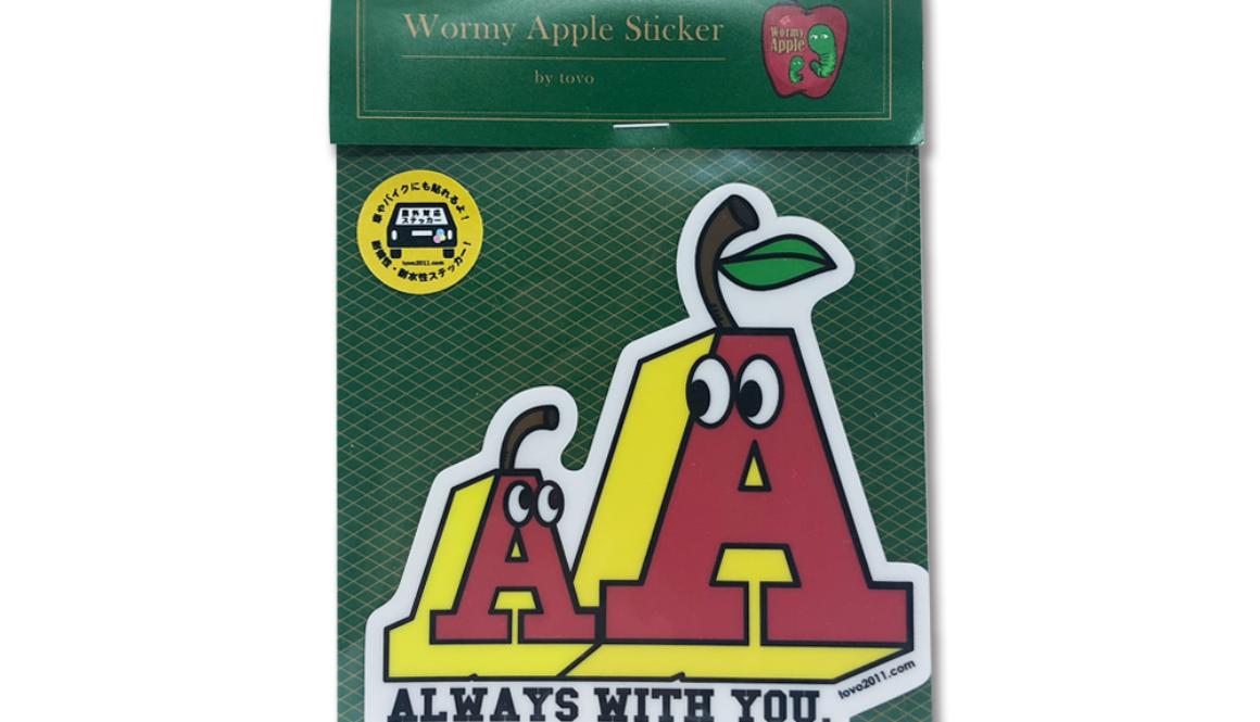 【新商品】WORMY APPLE 「AA」ステッカー(屋外対応)